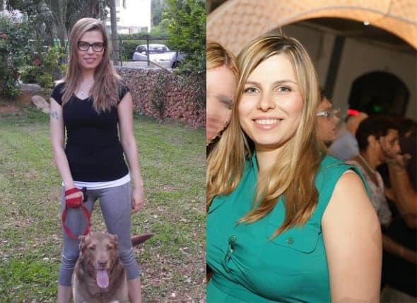 בחורה צעירהעשתה את דיאטת דש לפני ואחרי מראה תוצאות של לפני ואחרי ירידה של 20 קילו בזכות אימוני כושר