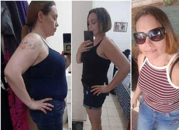 נשים צעירות לאחר דיאטת דש לפני ואחרי